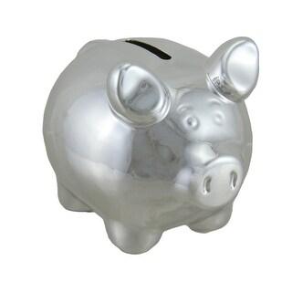 Portly Pig Metallic Chrome Finish Mini Ceramic Coin Bank 4 Inch