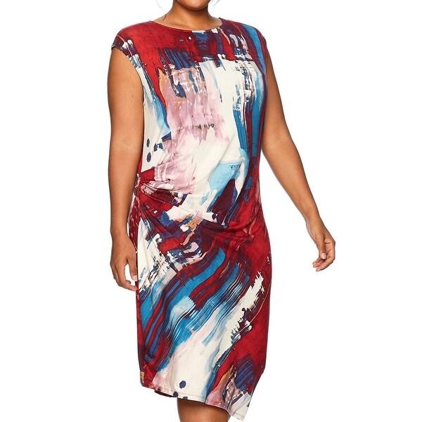 Rachel Rachel Roy Red Womens 1X Plus Abstract Print Sheath Dress