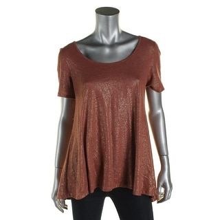 A-Line Womens Pullover Top Linen Metallic - s
