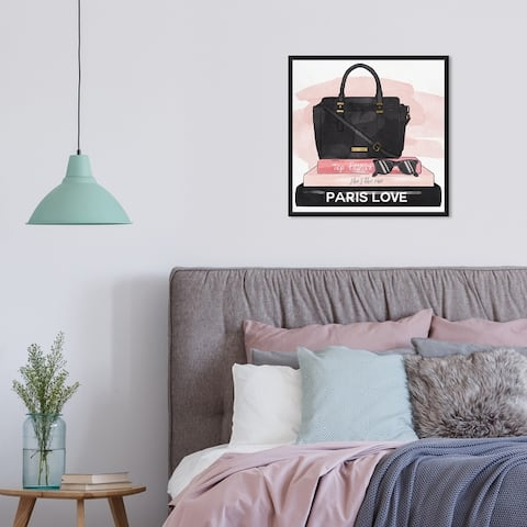 Oliver Gal 'Books and Shades Blush' Fashion and Glam Wall Art Framed Canvas Print Books - Black, Pink