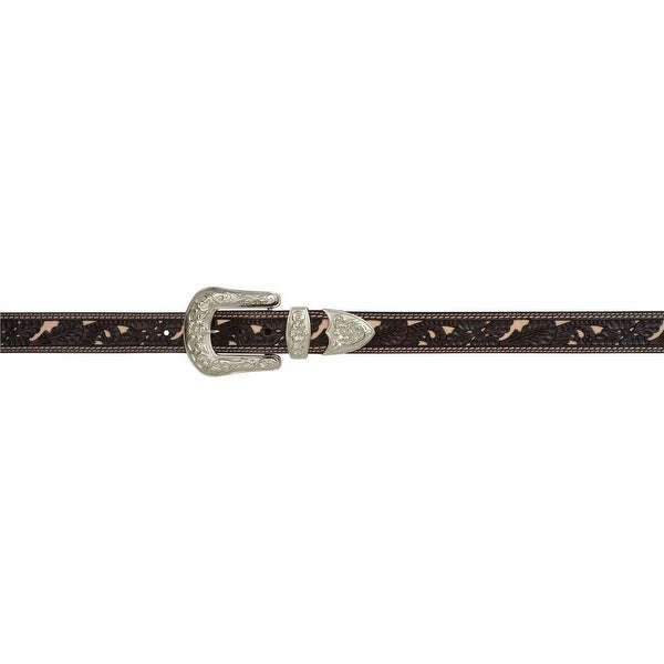 Angel Ranch Western Belt Womens Roughout Floral Inlay Chocolate