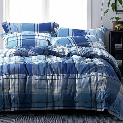 NTBAY Designs Superior Soft Comfy Blue Check Print Washed Woven Cotton King Duvet Cover with Zipper Closure, Hypoallergenic