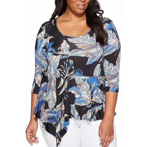 Karen Kane Black Women's 2X Plus Floral Print Asymmetrical Blouse