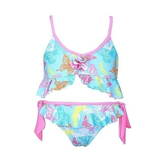 Sun Emporium Girls Pink Butterfly Garden Tie Side 2 Pc Bikini Swimsuit