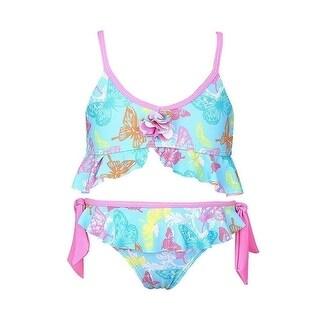 Sun Emporium Little Girls Pink Butterfly Garden Tie Side Bikini Swimsuit