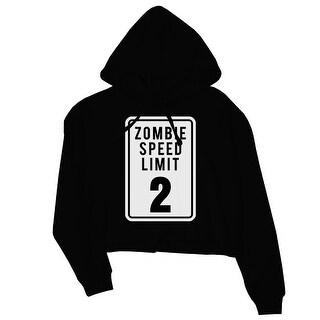 Zombie Speed Limit Womens Black Crop Hoodie