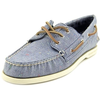 Sperry Top Sider A/O 3-Eye Fleck Men Moc Toe Canvas Blue Boat Shoe