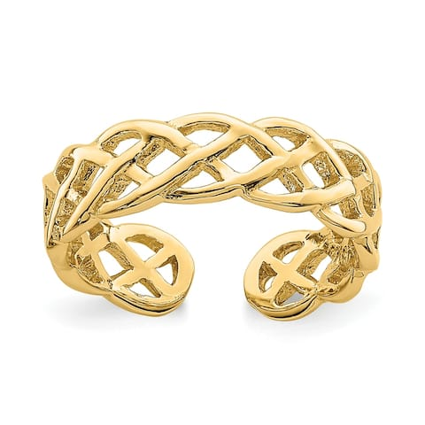 14K Yellow Gold Polished Braided Toe Ring By Versil