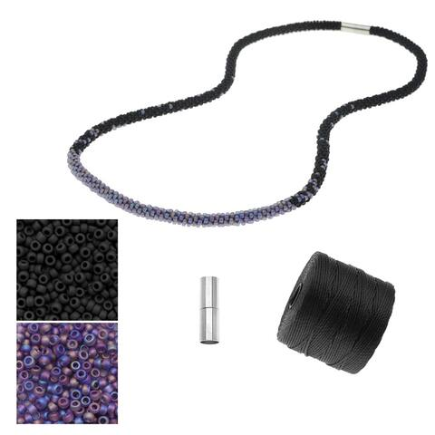 Refill - Long Beaded Kumihimo Necklace - Black & Rainbow Purple - Exclusive Beadaholique Jewelry Kit