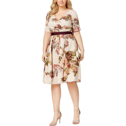 Adrianna Papell Womens Plus Special Occasion Dress Metallic Floral Print