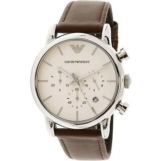 Emporio Armani Men's Classic AR1846 Brown Leather Japanese Quartz Fashion Watch
