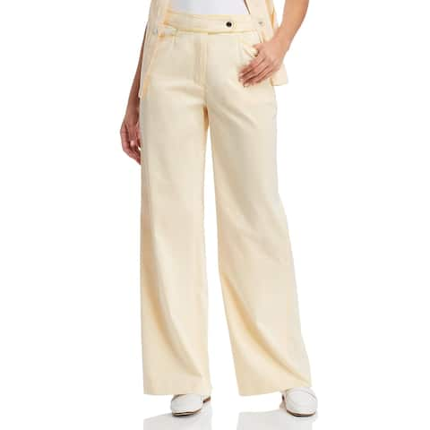 Tory Burch Womens Wide Leg Pants Piped Business Wear - Iced Lemon