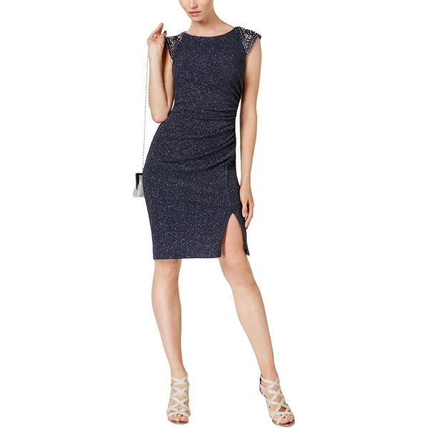 ca85c3046f5 Shop Vince Camuto Womens Cocktail Dress Metallic Knee-Length - 2 - On Sale  - Free Shipping On Orders Over  45 - Overstock - 27384485
