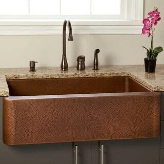 "Signature Hardware 305572 Fiona 36"" Farmhouse Single Basin Copper Kitchen Sink"