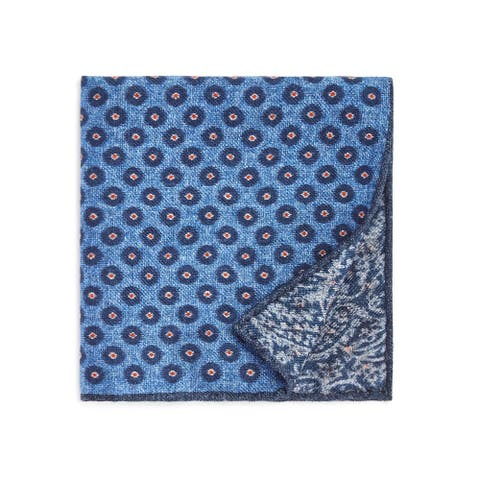 Bloomingdale's Mens Circle Medallion Pocket Square, blue, One Size - One Size