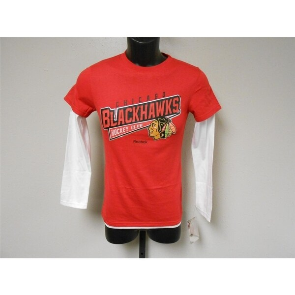 c7277ac07 Shop Mended Chicago Blackhawks Reebok Long Sleeve Shirt Youth 10 12 ...