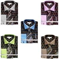 Men's Circle Tone on Tone Dress Shirt French Cuffs Tie Hanky Cufflinks