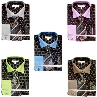 Men's Circle Tone on Tone Dress Shirt French Cuffs Tie Hanky Cufflinks (More options available)
