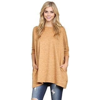 Riah Fashion's Two-Tone Hacci Oversized Dropped Shoulder Pocket Tunic