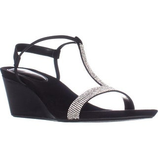 SC35 Mulan2 T-Strap Sparkle Sandals, Black/Silver