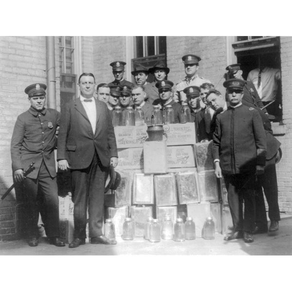 Policemen Posing with Collected Moonshine - Vintage Photograph (Keepsake Tin)