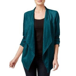 JM Collection Faux Suede Open Front Draped Long Sleeve Jacket Blazer Size S
