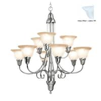 Woodbridge Lighting 10038 Hudson Glen 9 Light Satin Nickel Chandelier - Grey