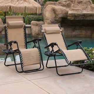 High Quality BELLEZE Tan Anti Gravity Chairs Set Of 2 Comes With Tray Cup Holder Mobile  Device Slot