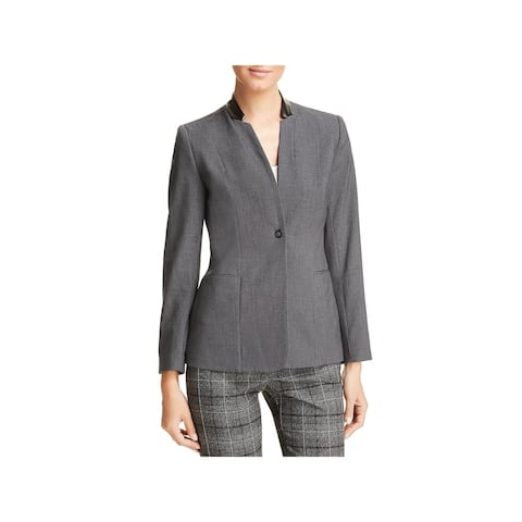 T Tahari Womens Blazer Faux Leather Trim Business