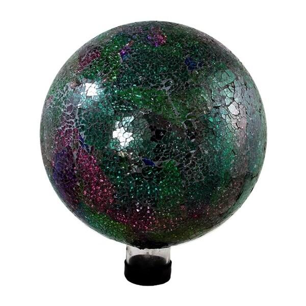 "10"" Green, Pink and Purple Mosaic Glass Outdoor Patio Garden Gazing Ball"