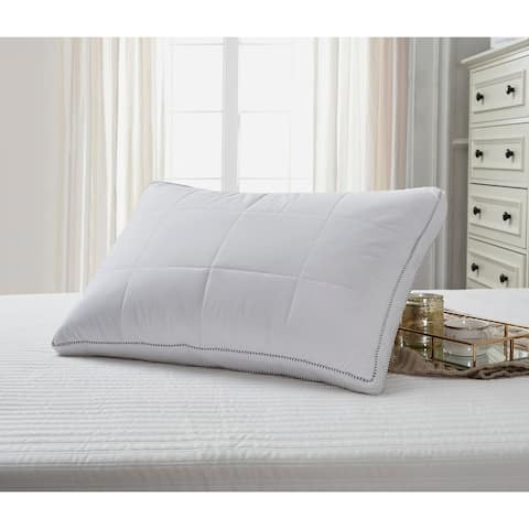 Hotel Grand Quilted White Goose Feather And Down Compartment Pillow (Set of 2)