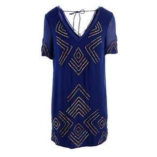 French Connection Womens Sequined Double-V Casual Dress - 4