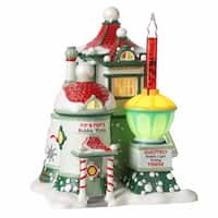 "Department 56 North Pole Series ""Pip & Pop's Bubble Works"" Lighted Building #4025280 - green"