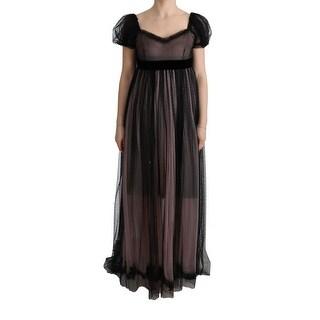 Dolce & Gabbana Dolce & Gabbana Black Pink Silk Long Shift Dress - it40-s