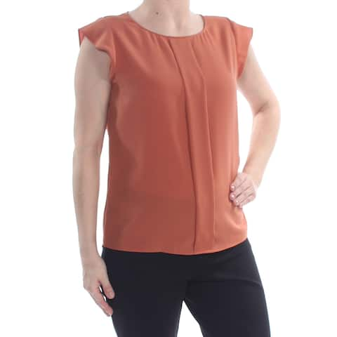 TAHARI Womens Brown Pleated Round Neck Cap Sleeve Peasant Wear To Work Top Petites Size: S