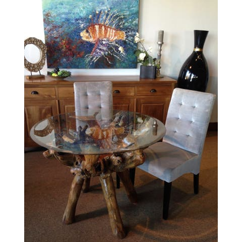 Chic Teak Rustic Teak Wood Root Dining Table Including a Round 48 Inch Glass Top