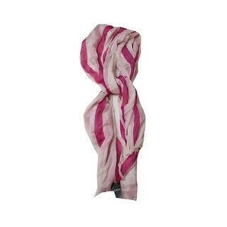 Lauren Ralph Lauren Pink White Sofia Stripe Oblong Scarf OS