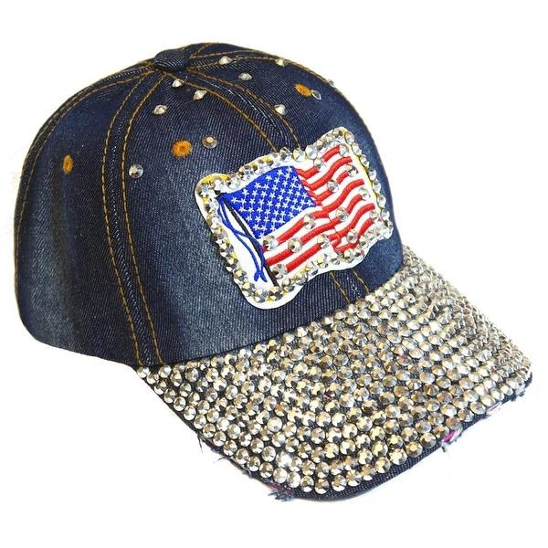American Flag Sparkling Bedazzled Studded Patriotic Baseball Cap Hat, Denim, Dark Blue