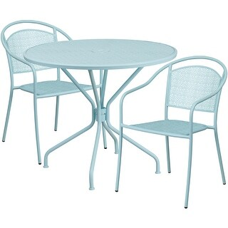Westbury Round 35.25'' Sky Blue Indoor-Outdoor Steel Table Set w/2 Round Back Chairs for Restaurant/Bar/Pub/Patio