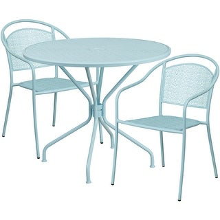 Westbury Round 35.25u0027u0027 Sky Blue Indoor Outdoor Steel Table Set W/2