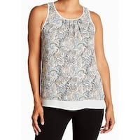DR2 White Womens Size XS Paisley Print Pleated Front Tank Top