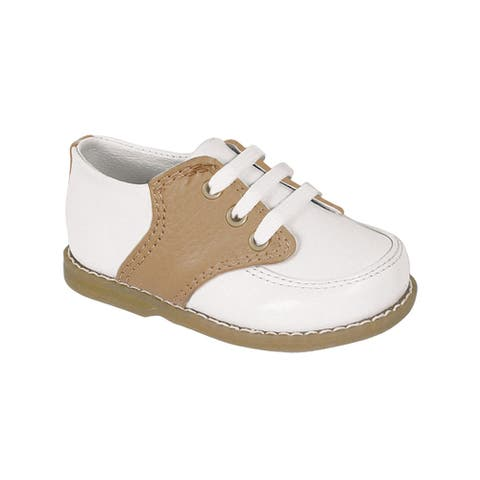 Baby Deer Little Boys White Tan Leather Saddle Oxford Shoes