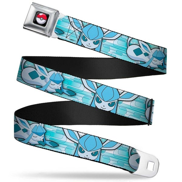 Pok Ball Full Color Black Glaceon Face Poke Ball Snowflakes Blues White Seatbelt Belt