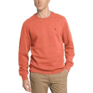 Izod Saltwater Fleece Relaxed Fit Crewneck Sweatshirt Burnt Orange Medium M