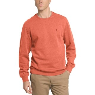 Izod Saltwater Fleece Relaxed Fit Crewneck Sweatshirt Burnt Orange Medium M