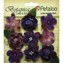 """Purple - Botanica Vintage Velvet Mini Flowers 1"""" - 1.5"""" 9/Pkg"""
