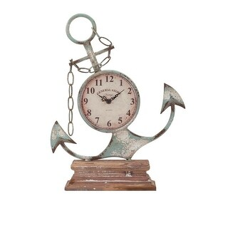 """17.75"""" Distressed Finished Anchor Shaped Iron Desk Clock"""