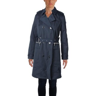 Michael Kors Womens Button Front Outerwear Trench Coat