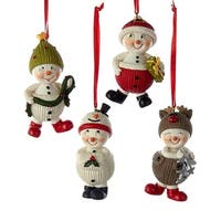 "Pack of 12 Assorted Snowkid in Costume Snowman Christmas Ornaments 3"" - WHITE"