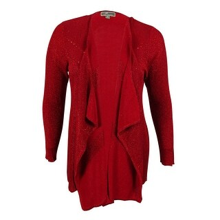 JM Collection Women's Long Sleeves Embellished Cardigan - new red amore - 0X